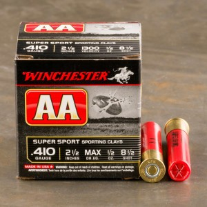 "25rds - 410 Bore Winchester AA Sporting Clays 2-1/2"" 1/2 oz. #8.5 Shot Ammo"