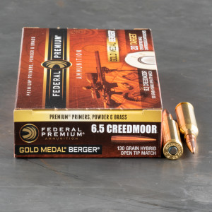 20rds - 6.5mm Creedmoor Federal Gold Medal Berger 130gr. Hybrid OTM Ammo