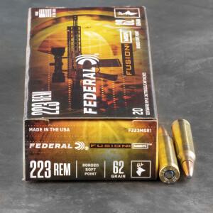 20rds - 223 Federal Fusion MSR 62gr. SP Ammo