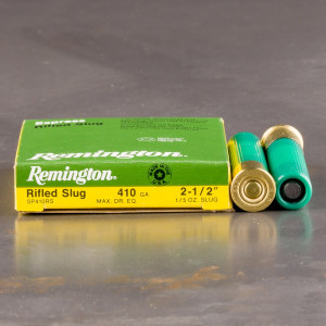 "5rds – 410 Bore Remington Slugger 2-1/2"" 1/5oz. Rifled Slug Ammo"