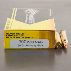 20rds - 300 Win Mag Black Hills Gold 165gr. Hornady GMX Ammo