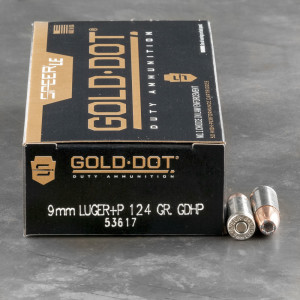 50rds – 9mm +P Speer LE Gold Dot 124gr. JHP Ammo