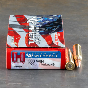 20rds - .308 Win. Hornady American Whitetail 150gr. InterLock SP Ammo