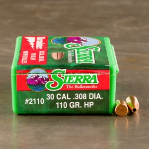 "100pcs - 30 Cal .308"" Dia Sierra Varminter 110gr. HP Bullets"