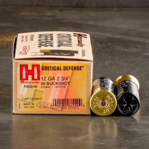 """100rds – 12 Gauge Hornady Critical Defense 2-3/4"""" 00 Buckshot Ammo"""