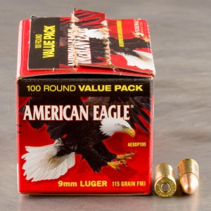 100rds - 9mm Federal American Eagle 115gr. FMJ Ammo