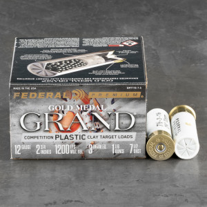 "25rds – 12 Gauge Federal Gold Medal Grand 2-3/4"" 1-1/8oz. #7.5 Shot Ammo"