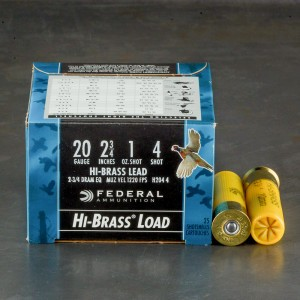 "25rds – 20 Gauge Federal Game-Shok Hi-Brass 2-3/4"" 1oz. #4 Shot Ammo"