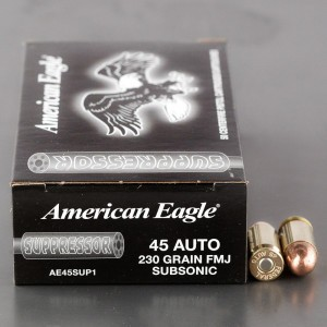 50rds – 45 ACP Federal American Eagle Handgun Suppressor 230gr. TMJ Ammo