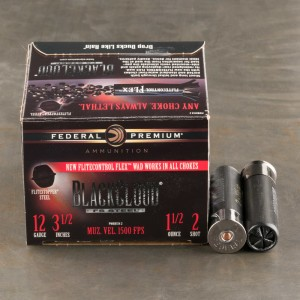 "25rds - 12 Gauge Federal Black Cloud Flitestopper 3-1/2"" 1-1/2oz. #2 Steel Shot Ammo"