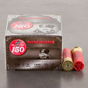"""25rds - 12 Gauge Winchester 150th Anniversary Commemorative 3"""" 1-1/4 Ounce #2 Steel Shot Ammo"""
