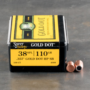 "100pcs - 38 / 357 Cal .357"" Dia Speer 110gr. Gold Dot JHP Bullets"