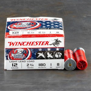 "250rds – 12 Gauge Winchester USA Game & Target 2-3/4"" 1oz. #8 Shot Ammo"