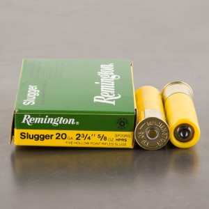 "5rds - 20 Gauge Remington Slugger 2 3/4"" 5/8oz. Rifled Slug"