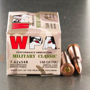 20rds - 7.62x54R Wolf 148gr. FMJ Ammo