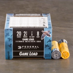 "25rds - 20 Gauge Federal Game Shok 2 3/4"" 7/8oz. #8 Shot Ammo"