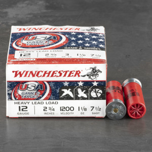 "250rds – 12 Gauge Winchester USA Game & Target 2-3/4"" 1-1/8oz. #7.5 Shot Ammo"