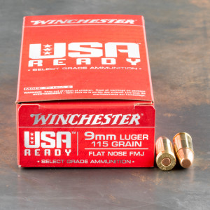 50rds – 9mm Winchester USA Ready 115gr. FMJ FN Ammo