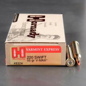 20rds - 220 Swift Hornady 55gr. V-Max Polymer Tip Ammo