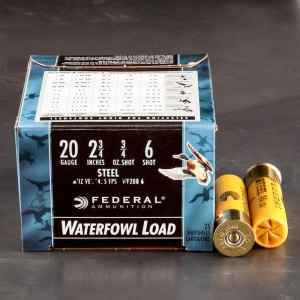 "25rds – 20 Gauge Federal Speed-Shok 2-3/4"" 3/4oz. #6 Steel Shot Ammo"