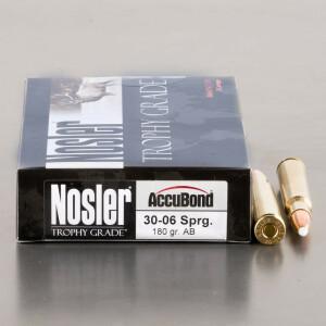 20rds - 30-06 Nosler Trophy Grade 180gr. Accubond Polymer Tip Ammo