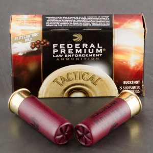 5rds - 12 Ga. Federal LE Tactical Full Power 9 pell. 00 Buck 2 3/4