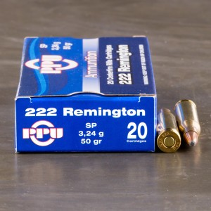 20rds - .222 Rem. Prvi Partizan 50gr. Soft Point Ammo