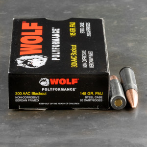 500rds – 300 AAC Blackout Wolf 145gr. FMJ Ammo