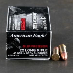 50rds – 22 LR Federal American Eagle Rimfire Suppressor 45gr. CPRN Ammo