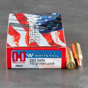 20rds - .243 Win Hornady American Whitetail 100gr. InterLock BTSP Ammo