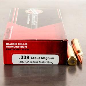 20rds - 338 Lapua Black Hills 300gr. Sierra MatchKing HP Ammo