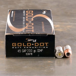 50rds - 45 Gap Speer Gold Dot 200gr. HP Ammo