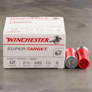"""250rds - 12 Gauge Winchester Super Target 2 3/4"""" 1 1/8oz. 2 3/4 Dram #8 Shot"""