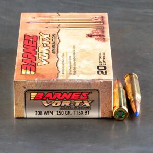 20rds – 308 Win Barnes VOR-TX 150gr. TTSX BT Ammo