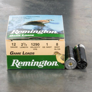"250rds – 12 Gauge Remington Game Loads 2-3/4"" 1oz. #8 Shot Ammo"