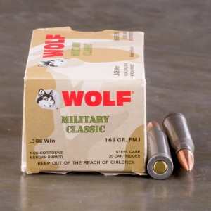 500rds - 308 Wolf Military Classic 168gr. FMJ Ammo