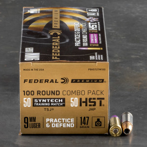 100rds – 9mm Federal Practice & Defend Combo Pack 147gr. Total Synthetic Jacket & HST JHP Ammo