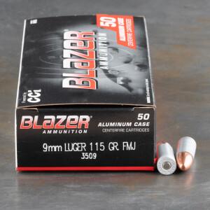 50rds – 9mm Blazer 115gr. FMJ Ammo
