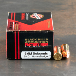 20rds – 9mm Black Hills 125gr. Subsonic HoneyBadger Ammo