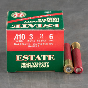 "250rds - 410 Gauge Estate HV Hunting 3"" Max Dram 11/16oz. #6 Shot Ammo"