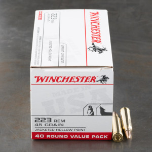 40rds - .223 Winchester USA Value Pack 45gr. JHP Ammo