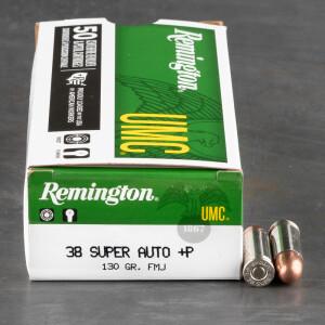 50rds - 38 Super Auto Remington UMC 130gr. +P FMJ Ammo
