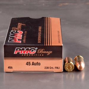 50rds - 45 ACP PMC Bronze 230gr. FMJ Ammo
