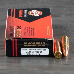 20rds – 300 AAC Blackout Black Hills 220gr. OTM Subsonic Ammo