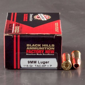 20rds - 9mm Black Hills 115gr. Barnes XP +P Hollow Point Ammo