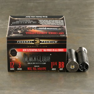 "25rds - 12 Gauge Federal Black Cloud Flitestopper 3"" 1-1/4oz. BB Steel Shot Ammo"