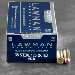 50rds – 38 Special Speer Lawman 125gr. TMJ Ammo