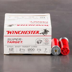 """250rds – 12 Gauge Winchester Super Target 2-3/4"""" 1-1/8 oz. #7 Steel Shot Ammo"""