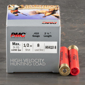 "25rds – 410 Gauge PMC High Velocity Hunting Load 2-1/2"" 1/2oz. #8 Shot Ammo"