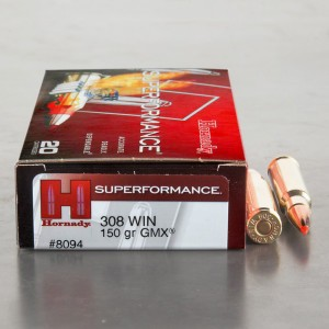 20rds - 308 Hornady Superformance 150gr. GMX Ammo